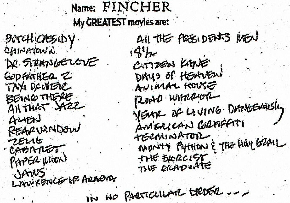 David Fincher's 26 favourite films, from a 2008 issue of Empire magazine.